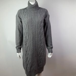 J CREW Gray Turtleneck Sweater Dress Size Medium
